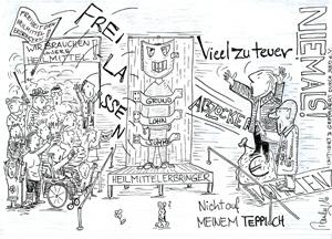 BED e.V. Karikatur des Monats zum Heil-und Hilfsmittelversorgungsgesetz