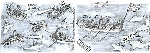 BED e.V. Karikatur des Monats: Patientenwohl ist ein Gemeinschaftsprojekt