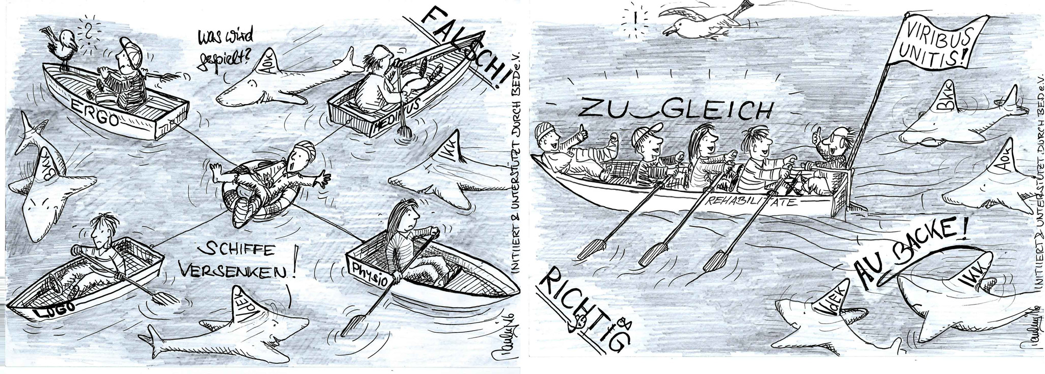 BED e.V. Karikatur des Monats - Patientenwohl ist ein Gemeinschaftsprojekt!