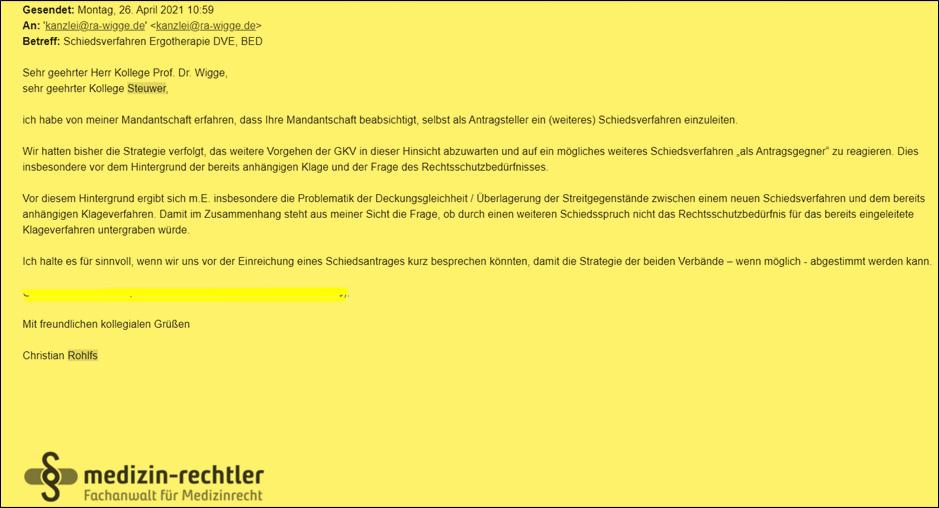 Screenshot der Mail unserer Kanzlei Rohlfs, an den Rechtsbeistand des DVE am 26.04.21