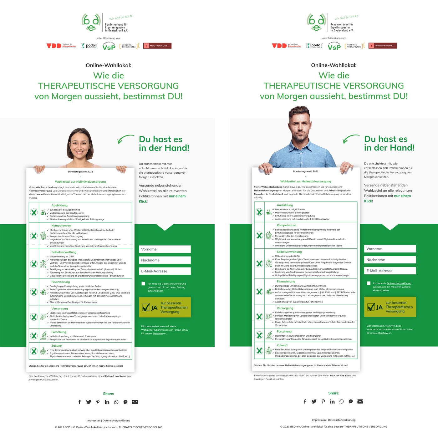Bundestagswahl 2021 - Wahlzettel zur Heilmittelversorgung